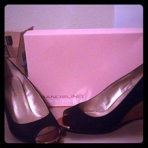 Shoes - Gold/Black Wedges